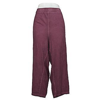 LOGO by Lori Goldstein Women's Petite Pants Distressed Ankle Purple A397395