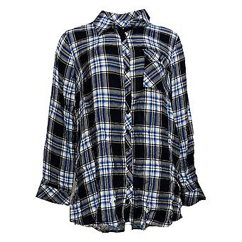 Tolani Collection Women's Petite Top Plaid Tunic W/ Print Back Black A383446
