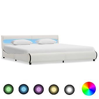 إطار سرير vidaXL مع جلد أبيض مقلد LED 180×200 سم