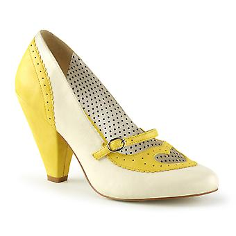 Pin Women's Shoes Up Yellow-Cream Faux Leather