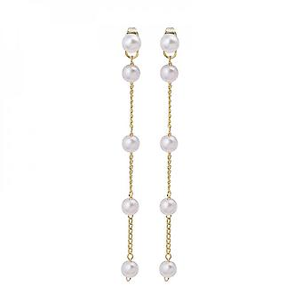 Silver Needle Long Pearl Chain Tassel Temperament After Hanging Earrings