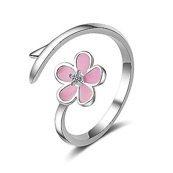 3PCS Vintage Branch Copper Pink Cherry Blossom Simple Sweet Flower Rings for Women Opening