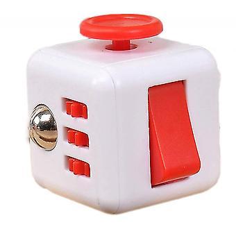6 zijden Fidget Toys Cube Fidget Cube verlicht stress en angst kubus (wit rood)