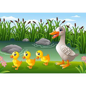 Tapeta Mural Cartoon Duck Family