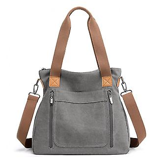 Capacity Solid Color Canvas Shoulder Bags For Women Style Fashion Simple Casual Travel Handbag