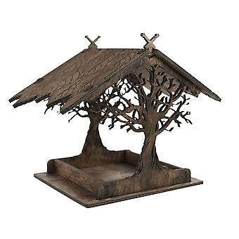 Wooden Bird Feeder Hanging For Garden Yard Decoration Hexagon Shaped With Roof Home Wall Mount