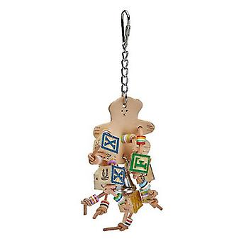 AE Cage Company Happy Beaks Leather Bear with ABC Blocks Assorted Bird Toy - 1 count