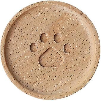 Coasters cute animal paw stamped wooden coaster