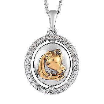 """Zirkon Sternzeichen-Aquarius Halskette für Frauen in Gold und Platin vergoldet Silber 20"""""""