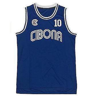 Hommes Drazen 10 Petrovic Cibona Maillot Bleu Européen De Basket-Ball Cousu
