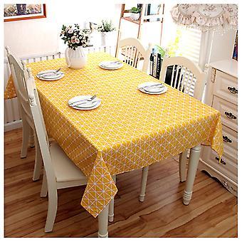 Rechteckige Tischdecke aus Baumwolle und Leinen, karierte Tischdecke, staubdichte Tischdecke, Küchentisch und 140 * 140cm Tischdecke (gelb)
