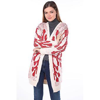 snøfnugg mønstret tykk strikkevarer cardigan