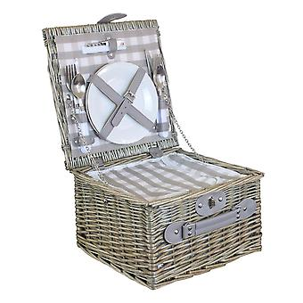 2 Person grau überprüft Picknick-Korb mit Kühler