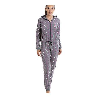 Camille Grey Cotton Star Print Hooded All In One Onesie