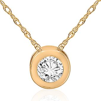 14k Yellow Gold 5/8ct Round Bezel Solitaire Diamond Pendant 14K Necklace