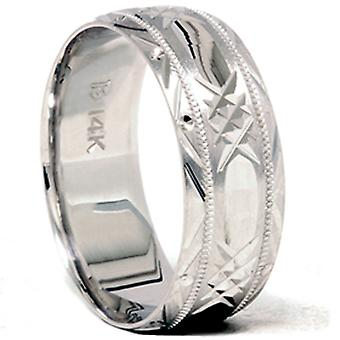 Hand Carved Wedding Band 14K White Gold