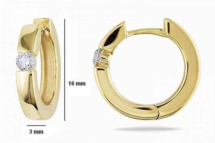 Affici Sterling Silver Hoop Earrings18ct Yellow Gold Plated with Diamond CZ Gem