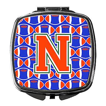 Letter N Football Green, Blue and Orange Compact Mirror