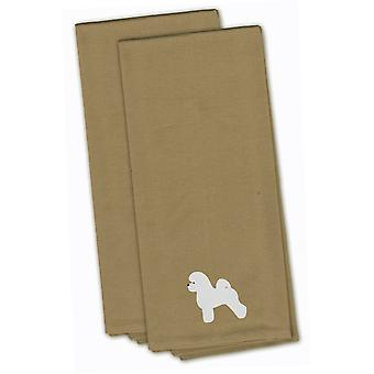 Bichon Frise Tan Embroidered Kitchen Towel Set of 2