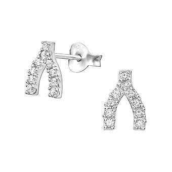 Поперечный рычаг - 925 стерлингового серебра кубического циркония уха шпильки - W35443x