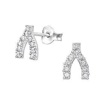 Wishbone - 925 Sterling Silver Cubic Zirconia orecchini - W35443x