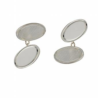 Silver 12x19mm oval engine turned chain Cufflinks