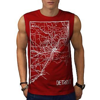 Amerika Stadt Detroit Männer RedSleeveless T-shirt | Wellcoda