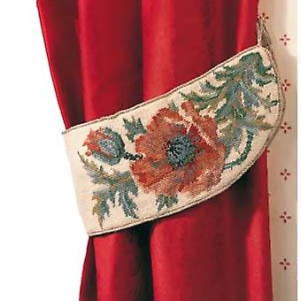 A Pair of Poppy Tiebacks Needlepoint Kit