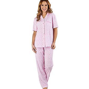 Slenderella PJ1104 Women's Ditsy Floral Pink 100% Cotton Jersey Pajama Short Sleeved Pyjama Set