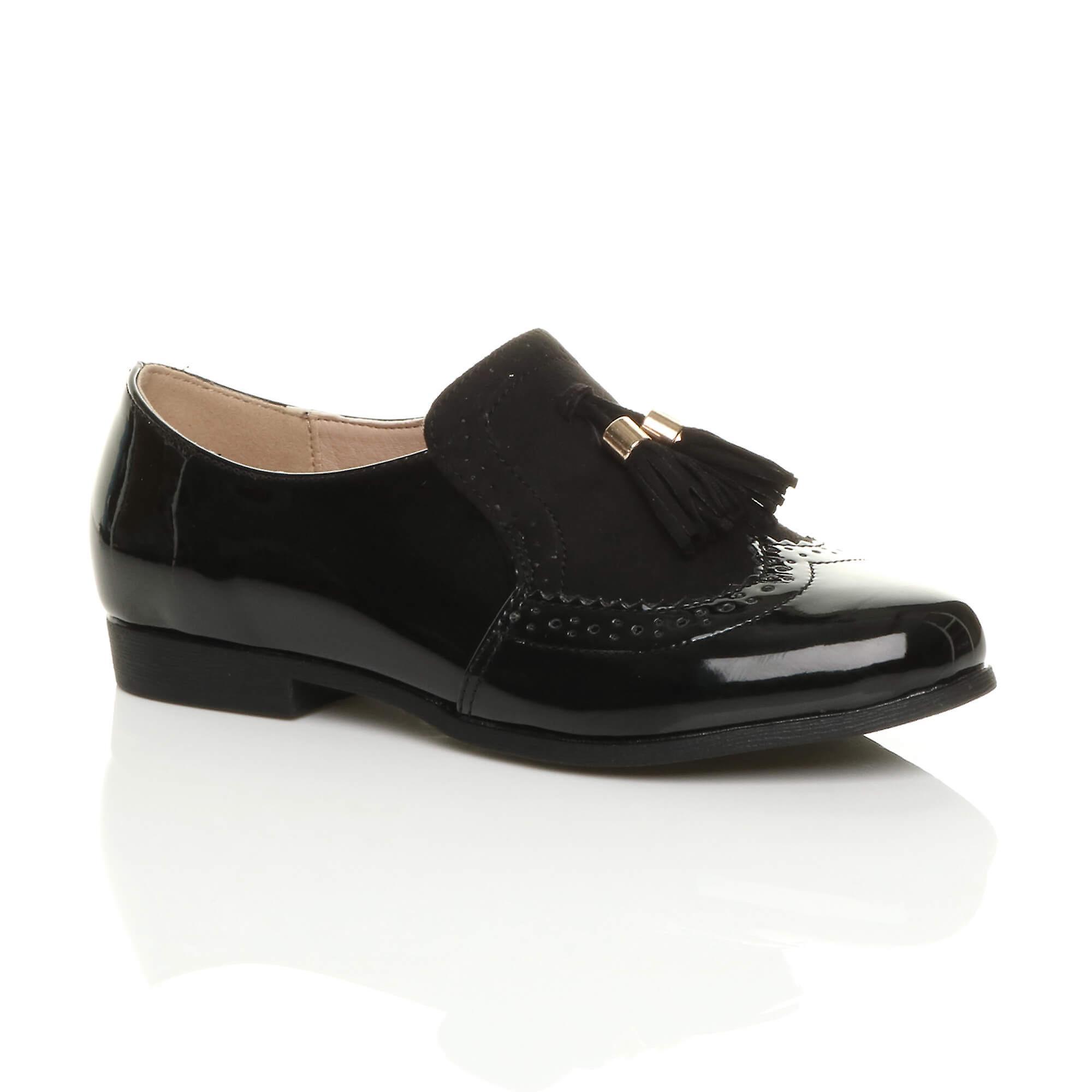 Ajvani womens low heel flat tassel vintage style smart work shoes brogues 9Q1c2