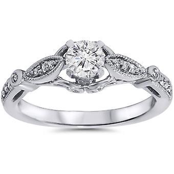 5 / 8ct Vintage Runde Diamant Verlobungsring 14K White Gold