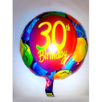 Feuille ballon 30e anniversaire avec des ballons