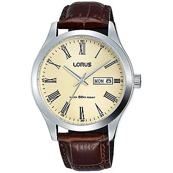 Lorus Stainless Steel Case Leather Bracelet Roman Numbers Cream RXN53DX9 Watch