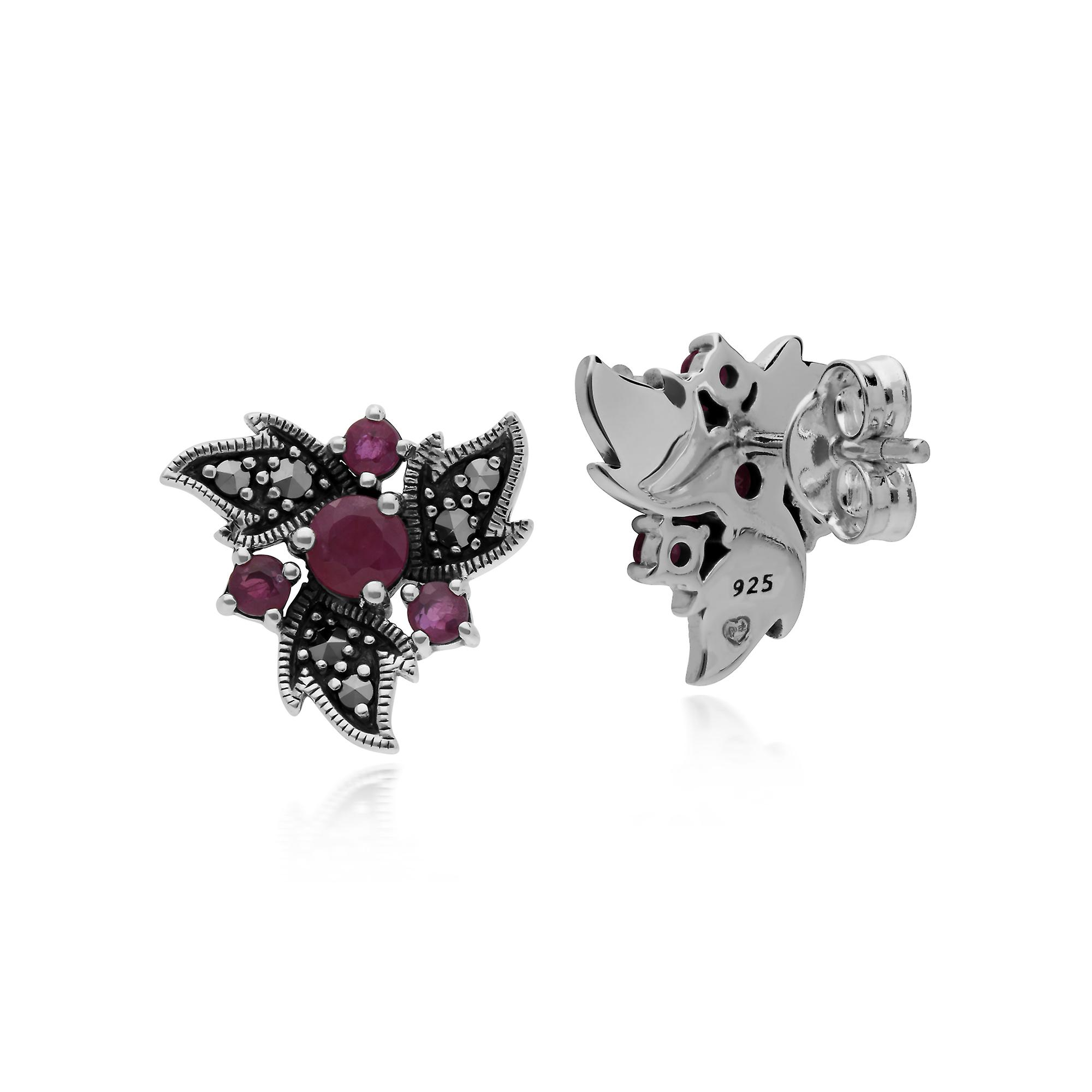 Gemondo Sterling Silver Ruby & Marcasite Nouveau Floral Earrings