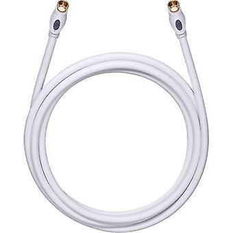 Antenner, lör-kabel [1 x F-kontakt - 1 x F-kontakt] 0,75 m 120 dB guldpläterade kontakter vit Oehlbach överföring Plus S