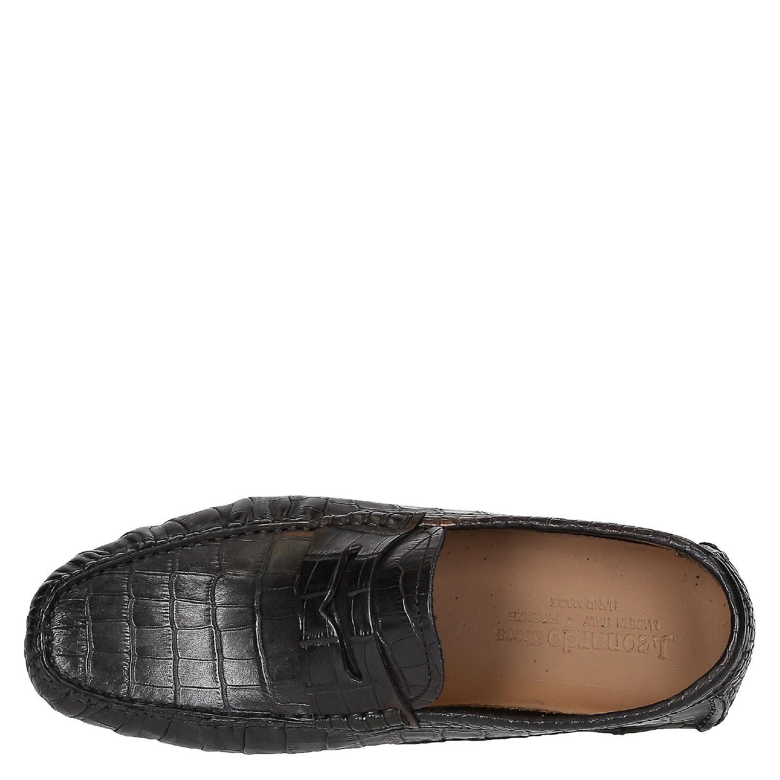 Mocassins homme en cuir de texture croco noir