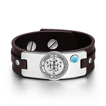 Archangel Gabriel Sigil Magic Powers Amulet Simulated Turquoise Adjustable Brown Leather Bracelet