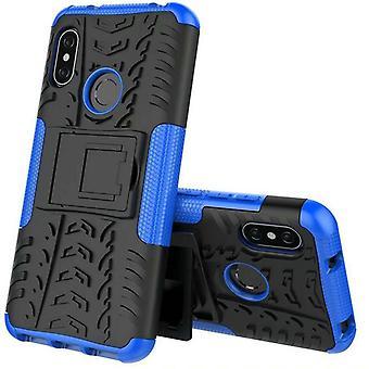Für Xiaomi MI MAX 3 Hybrid Case 2teilig Outdoor Blau Tasche Hülle Cover Schutz
