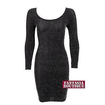 Dames lange mouw glanzend zilver zwarte Lurex korte Womens jurk