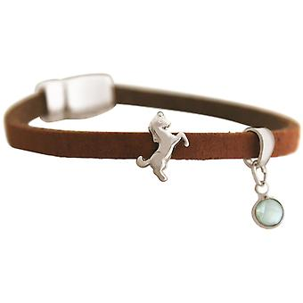 GEMSHINE brown leather bracelet unicorn gold plated, rose, silver chalcedony girl