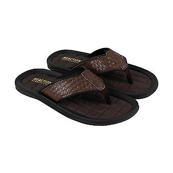 Kenneth Cole Reaction Go Four-TH Mens Brown Thong Flip-Flops Sandals Chaussures