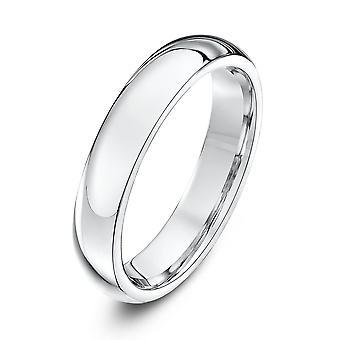 Star Wedding Rings 18ct White Gold Heavy Court Shape 4mm Wedding Ring