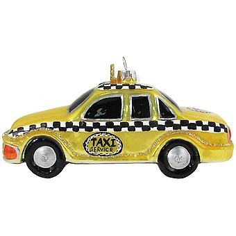Christmas by Krebs New York NY Yellow Taxi Cab Glass Holiday Ornament