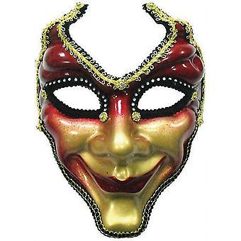 Umpi naamio. Punainen/kulta.