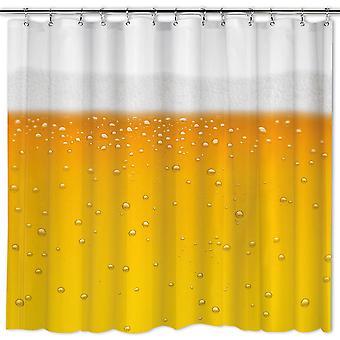 Brusebad gardin øl - øl o'clock-øl bruser gul, hvid, PVC, incl. krog.