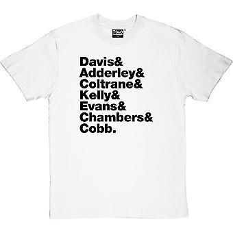 Miles Davis slags blå Line-Up mäns T-Shirt