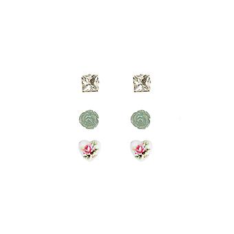 Lovemystyle Set of Diamante And Rose Design Stud Earrings