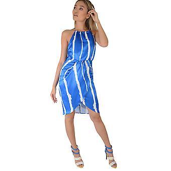 LMS blaue Wickelkleid mit dicken weißen Streifen