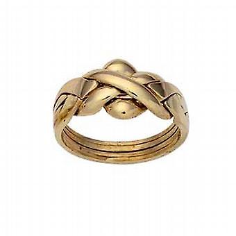 pezzo di 9ct Gold 4 Puzzle anello dimensione Q