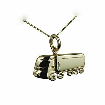 9ct Gold 10x20mm ausgehöhlt an zurück LKW Anhänger mit einem Bordstein Kette 20 Zoll